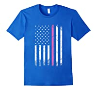 Stars Stripes Thin Pink Line Breast Cancer Awareness Month T Shirt Royal Blue