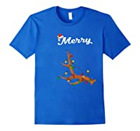 Merry Christmas Deer Antler Couples Matching Costume Gift Shirts Royal Blue