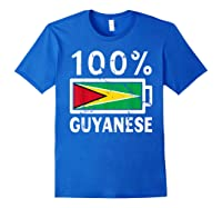 Guyana Flag T Shirt 100 Guyanese Battery Power Tee Royal Blue