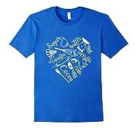 Baking Ingredients And Utensils Heart T Shirt Royal Blue