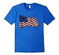 America Betsy Ross Flag 1776 Vintage Distressed T Shirt Royal Blue