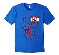 Hello My Name Is Ma Funny Halloween Scary Horror Raglan Baseball Ts Shirts Royal Blue