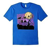 Dark Spooky Night Black Cat With Bats Halloween Shirts Royal Blue
