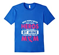 I Was Raised By Mine I Wear Pink For My Mom Breast Cancer T Shirt Royal Blue
