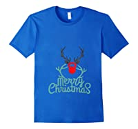 Merry Xmas Antlers Kettlebell Weightlifting Ness Workout Shirts Royal Blue