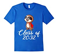 Sloth Class Of 2032 Back To School Gift Shirts Royal Blue
