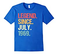 Legend Since July 1969 T Shirt Vintage 50th Birthday Gifts Royal Blue