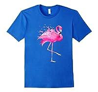 Funny Flamingo Breast Cancer Awareness October Ribbon Pink Premium T Shirt Royal Blue