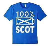 Scotland Flag T Shirt 100 Scot Battery Power Tee Royal Blue
