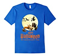 Happy Halloween With Extraordinary Dogs And Cats T Shirt Royal Blue