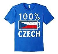 Czech Republic Flag Shirt 100 Czech Battery Power Tee Royal Blue