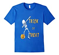 Trick Or Treat Dabbing Skeleton Pumpkin Bucket Halloween Dab Shirts Royal Blue