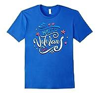 Happy Veteran's Day Patriot Military Memorial Gift Tee Premium T-shirt Royal Blue