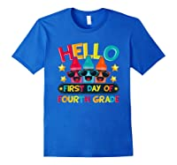 Hello First Day Of Fourth Grade Cute Crayon Student Tea Shirts Royal Blue