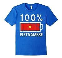Vietnam Flag T Shirt 100 Vietnamese Battery Power Tee Royal Blue