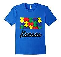 Autism Awareness Day Kansas Puzzle Pieces Gift Shirts Royal Blue