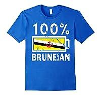 Brunei Flag T Shirt 100 Bruneian Battery Power Tee Royal Blue