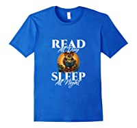 Sleep All Day Read All Night Bookish Read A Book Day Owl Tank Top Shirts Royal Blue