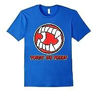 Funny Creepy Halloween Vampire Tooth Trick Treat Shirts Royal Blue