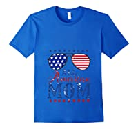 All American Mom 4th Of July Sunglasses Matching Family Tank Top Shirts Royal Blue
