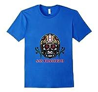 San Francisco Football Helmet Sugar Skull Day Of The Dead T Shirt Royal Blue