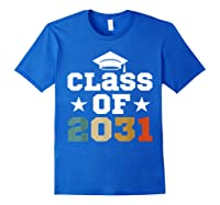 Vintage First Grade 2019 Class Of 2031 Apparel Grow With Me Shirts Royal Blue