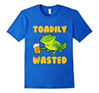 Funny Frog Drink Beer Toadily Wasted Beer Party Gift T Shirt Royal Blue