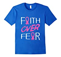 Faith Over R Breast Cancer Awareness Month Pink Ribbon Tank Top Shirts Royal Blue