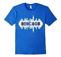 Chicago Skyline Flag City Illinois Souvenir Gift Shirts Royal Blue