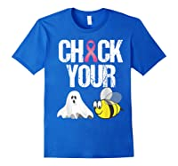 Check Your Boo Bees Shirt Funny Breast Cancer Halloween Gift Royal Blue