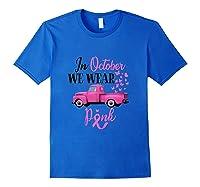 October Breast Cancer Awareness Month Pumpkin Vintage Truck Tank Top Shirts Royal Blue