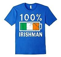 Ireland Flag T Shirt 100 Irishman Battery Power Tee Royal Blue