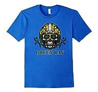 Green Bay Football Helmet Sugar Skull Day Of The Dead Premium T-shirt Royal Blue