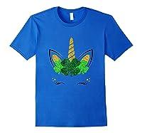 Unicorn Face St Patrick S Day T Shirt Girls Royal Blue