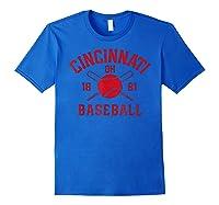 Cincinnati Baseball Vintage Distressed Ohio Red Retro Gift Shirts Royal Blue