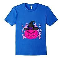 Pink Ribbon Pumpkin Halloween Breast Cancer Awareness Month T Shirt Royal Blue