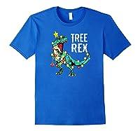 Christmas Tree Rex Shirts Dinosaur T-rex Raglan Baseball Tee Royal Blue