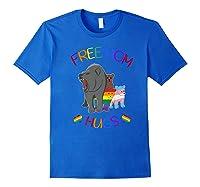 Free Mom Hugs Tshirt Rainbow Heart Lgbt Pride Month Premium T-shirt Royal Blue