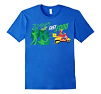 Cute Zombies Hate Fast Food For Couch Potatoes Shirts Royal Blue