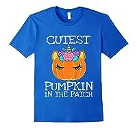 Cutest Pumpkin In The Patch Unicorn Halloween Girls Gift Shirts Royal Blue