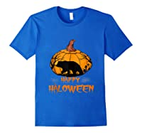 Bear Pumpkin Happy Halloween Costume Shirts Royal Blue