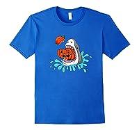 Shark Eats Jack O Lantern Funny Halloween Girls Shirts Royal Blue