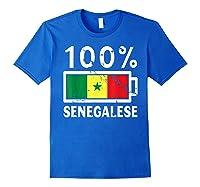 Senegal Flag T Shirt 100 Senegalese Battery Power Royal Blue