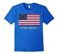 Team B Ross Flag Proud American Flag Distressed T Shirts Royal Blue