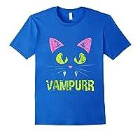 Halloween Scary Cat Vampire Vampurr Girl Shirts Royal Blue