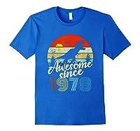 Dinosaur 41st Birthday Gifts Awesome 1978 41 Yrs Old Shirts Royal Blue