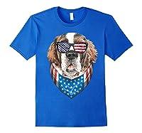 Fourth Of July Bernard American Flag July 4th St Bernard Dog T Shirt Royal Blue