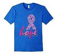 Hope Pink Ribbon Breast Cancer Awareness Month T Shirt Royal Blue