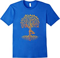 Da Baum Des Lebens With Woman Yoga T-shirt Chakra Haka Yoga T-shirt Royal Blue
