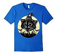 Vintage Scary Halloween Black Cat Witch Hat Moon Pumpkin Bat T Shirt Royal Blue